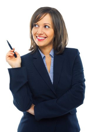 Businesswoman thinking with a marker in her hand isolated on white background photo