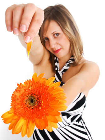 housecoat: Girl with flower Stock Photo