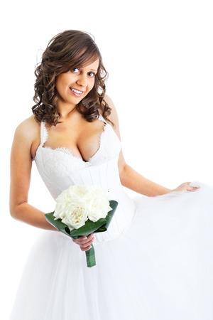 matrimonio feliz: Novia joven con el ramo de la boda aisladas sobre fondo blanco Foto de archivo