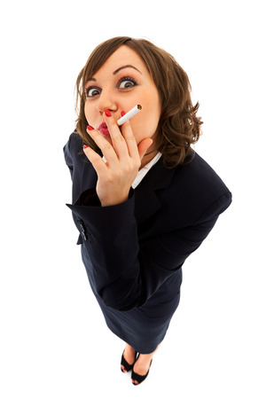 ''wide angle'': Businesswoman with a cigarette isolated on white background shot with wide angle lenses