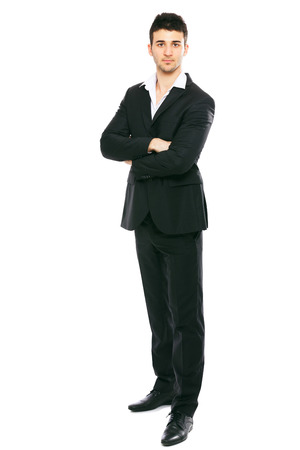 formal wear clothing: Young businessman portrait isolated on white