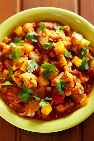 curry dish: Gobi Aloo is famous Indian curry dish with potatoes and cauliflower