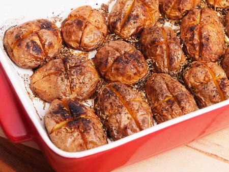 potatos: Baked halved potatos in a baking dish