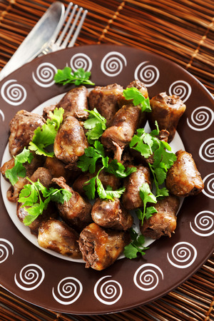 cilantro: Duck Hearts in butter with cilantro