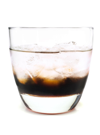white russian: Black russian cocktail isolated on white background