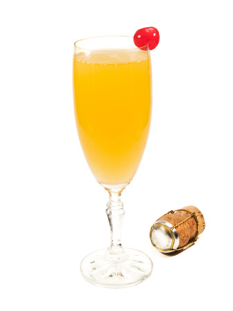 bellini: Bellini cocktail isolated on white background