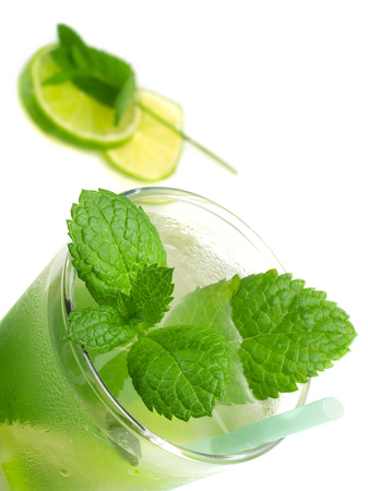 tilted view: Mojito, tilted view, isolated on white