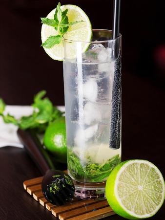 muddle: Mojito cocktail shot on a bar counter