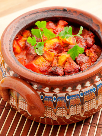 bulgarian: Bulgarian oven-baked meat and vegetable stew