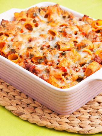 baked meat: Baked macaroni with meat and cheese Stock Photo