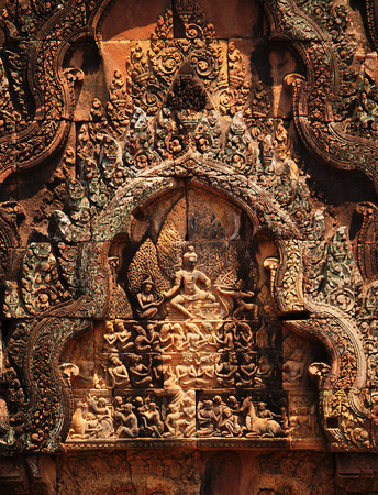 hindu god shiva: Banteay Srei - 10th century Cambodian temple dedicated to the Hindu god Shiva
