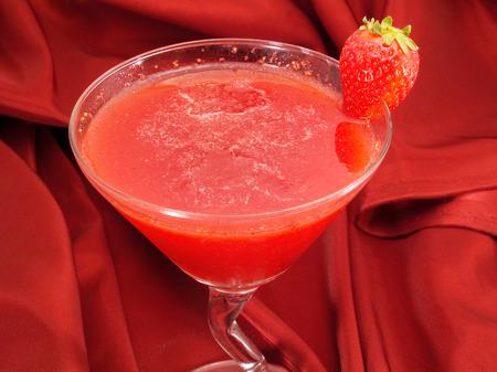 daiquiri: Strawberry Daiquiri on red satin background