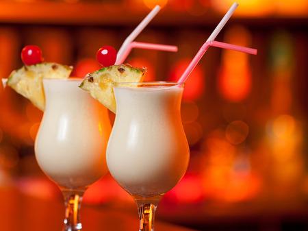 pina: Pina Colada cocktail on a bar