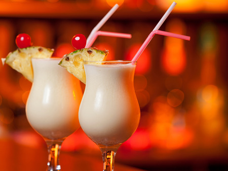 pina colada: Pina Colada cocktail on a bar