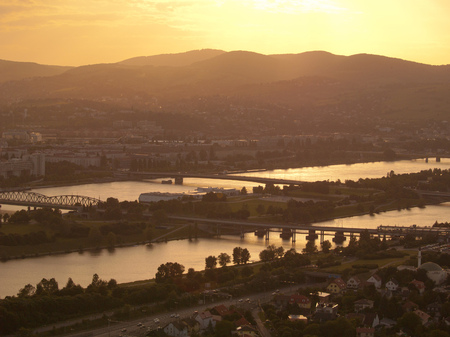 tv tower: Danube at sunset shot from the TV tower, the highest place in Vienna Stock Photo