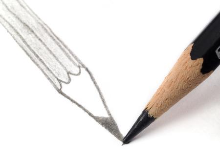 ego�sta: Dibujo a l�piz a s� mismo Foto de archivo