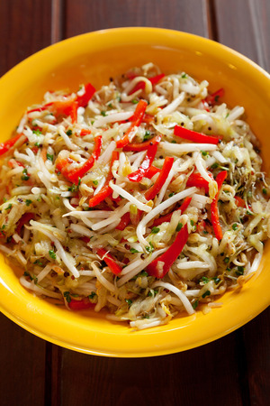 soya beans: Chinese salad with soya beans, cucumbers and red peppers