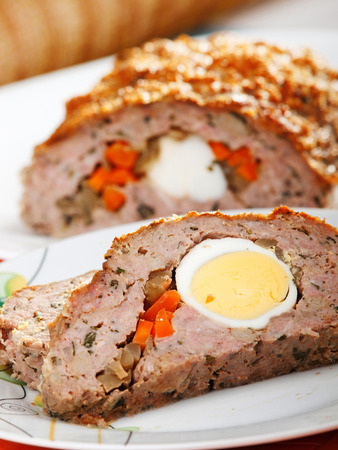 meat loaf: Meat loaf with eggs and vegetables Stock Photo