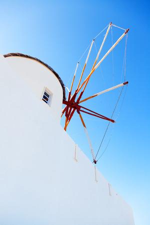 oia: Windmill in Oia, Santorini, Greece Stock Photo