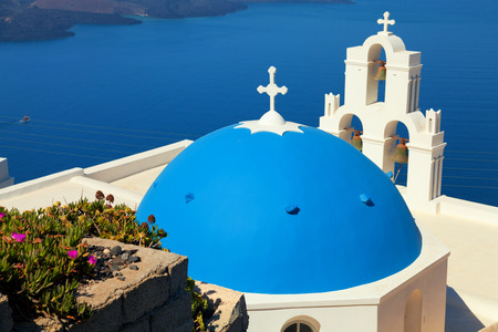 famous: Famous church in Fira, Santorini Stock Photo