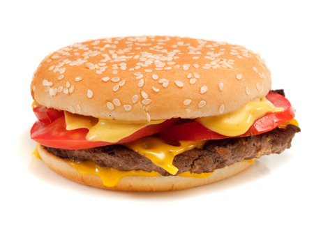 fast food: Hamburger with steak, cheese and  tomatoes