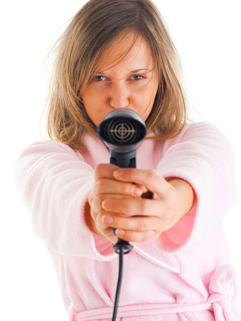 housecoat: Woman with hair-drier