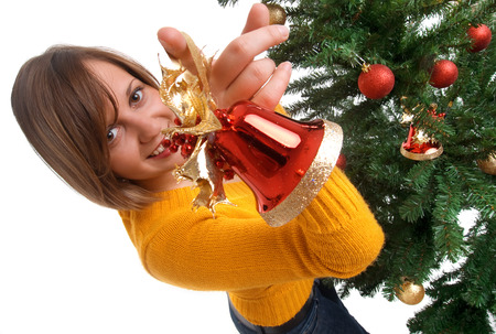 wideangle: Woman Decorating Chsristmas tree