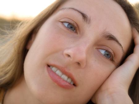 summer beauty: Girls face, close up