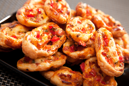 Pasty with red peppers, chese and eggs, ready-to-eat, close up Stock Photo