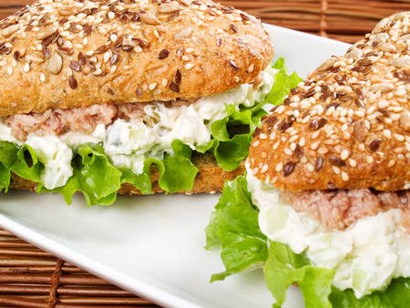 whole grains: Tuna sandwich with whole grains bread Stock Photo