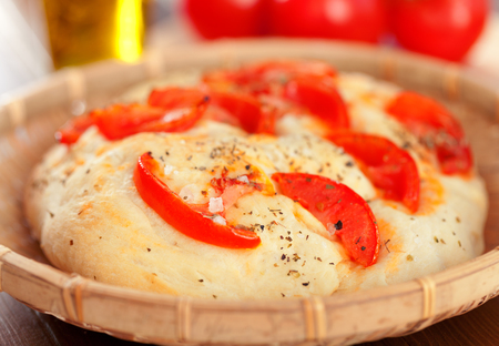 focaccia: Focaccia with tomatos and olive oil, homemade