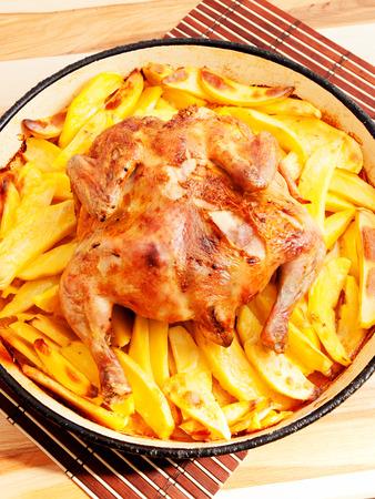 potatos: Baked whole chicken and potatos