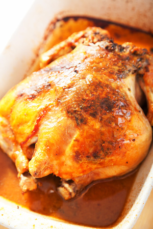 whole chicken: Baked whole chicken with herbs