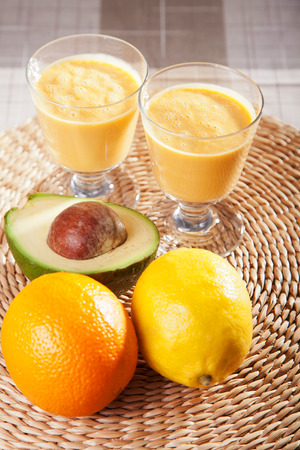nonalcoholic: Avocado and citurs smoothie Stock Photo