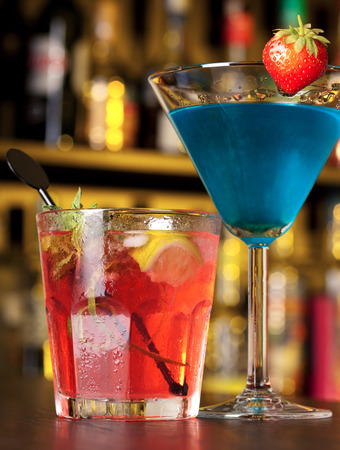 liqueurs: Two cocktails on a bar