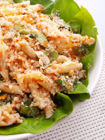 pecans: Penne salad with pecans and cheese