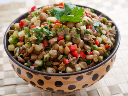 Lentil salad with cucumbers and red peppers