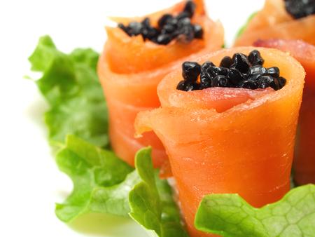 caviar: Salmon rolls with caviar