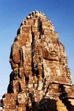 angkor thom: large stone carved faces of Bayon Temple in Angkor Thom, Angkor district, Siem Reap, Cambodia
