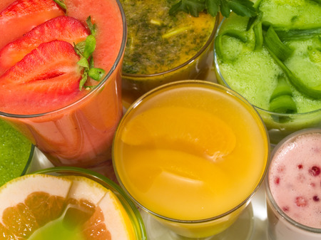 looked: Many healthy drinks looked from above Stock Photo