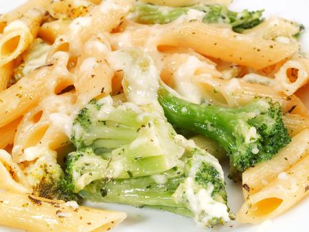 fullframe: Macaroni with broccoli Stock Photo