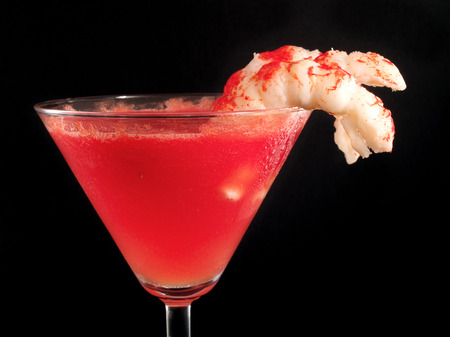 tomato cocktail: Tomato Cocktail With Shrimps Archivio Fotografico
