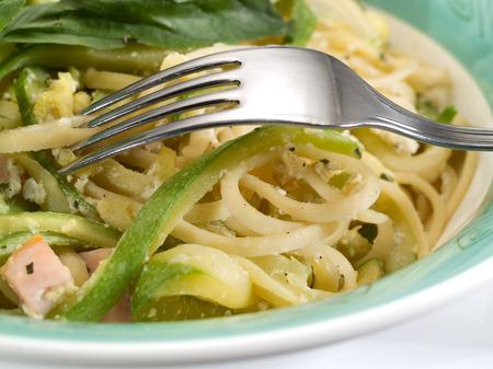fullframe: Linguini with zuchini Stock Photo