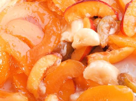 gelatina: Postre de gelatina con frutas Foto de archivo
