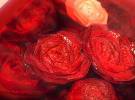 fullframe: Food carving - roses from beetroot