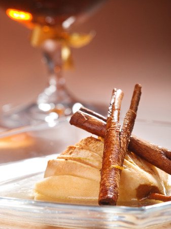 upperdeck view: Pears with rum and cinnamon