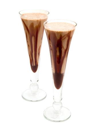 caloric: Ingredients:   Chocolate ice-cream  Milk  Cocoa Stock Photo