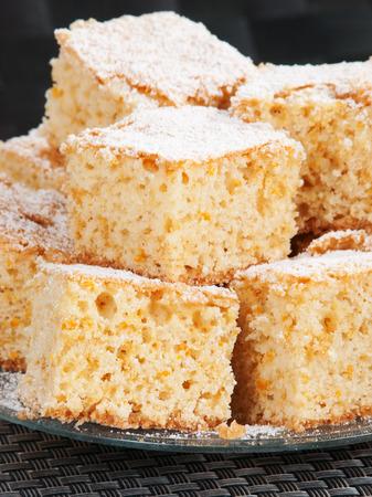 baking powder: Sweet orange cake, made of floor, eggs, orange zest, sugar and baking powder Stock Photo
