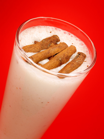 oz: Ingredients:  1 banana 200ml (7 oz) soya milk 50g (2 oz) almonds  Blend all the ingredients and serve with cinnamon flakes. Stock Photo