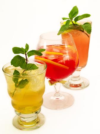 tahitian: Three deliscious cocktails - Canadian cocktail, Negroni (Itailian) and Mai Tai (Tahitian) Stock Photo